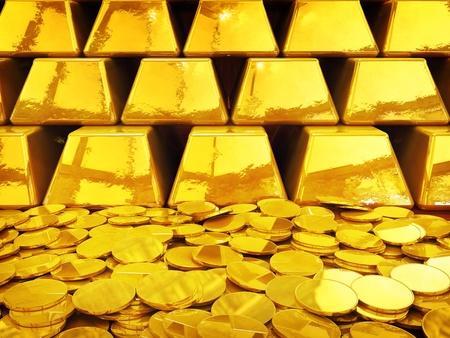 Bild Goldbarren und -münzen